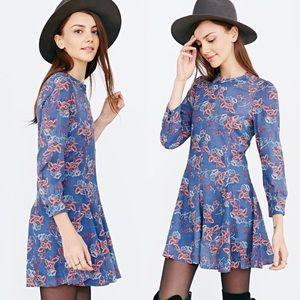 Ryder x UO blue floral print dress